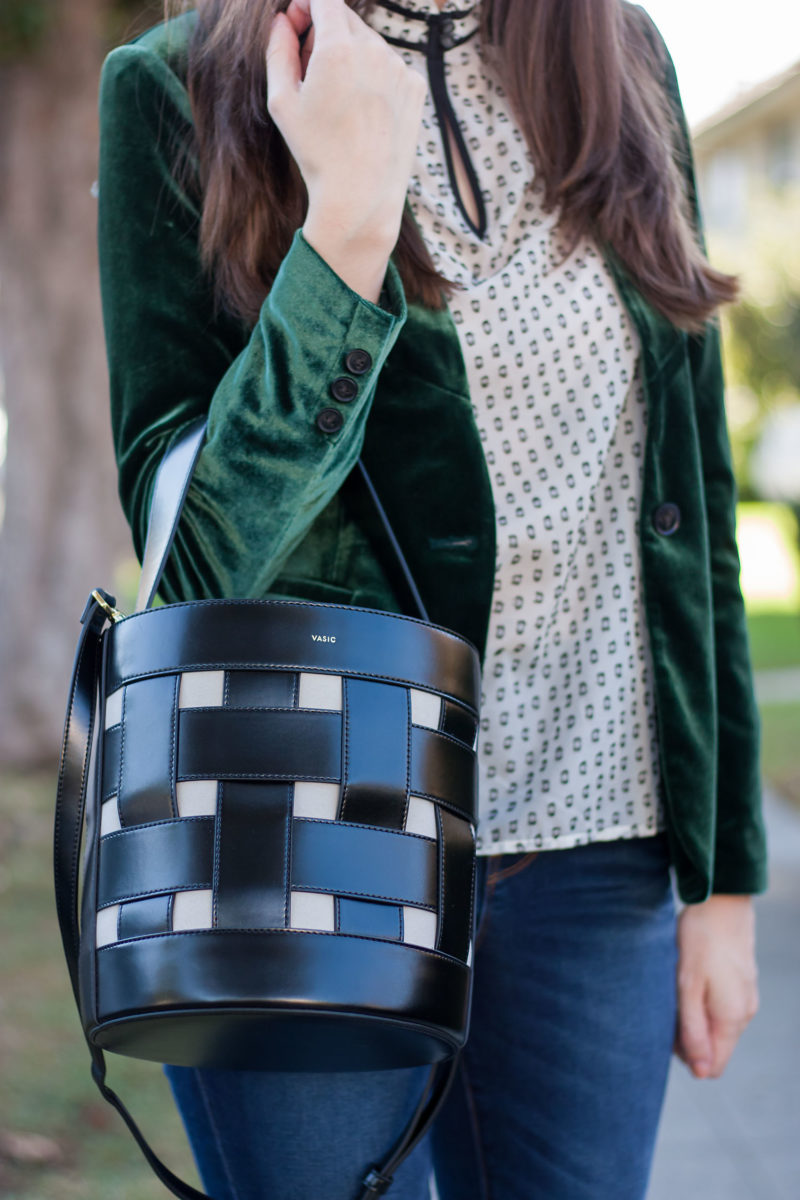 Vasic Bucket Bag and Velvet Blazer