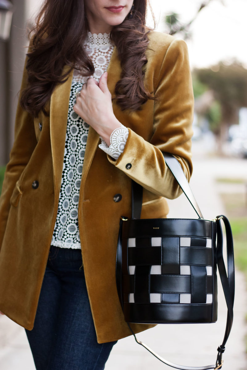 Jeans and a Teacup with Vasic Bucket Bag and Gold Velvet Blazer