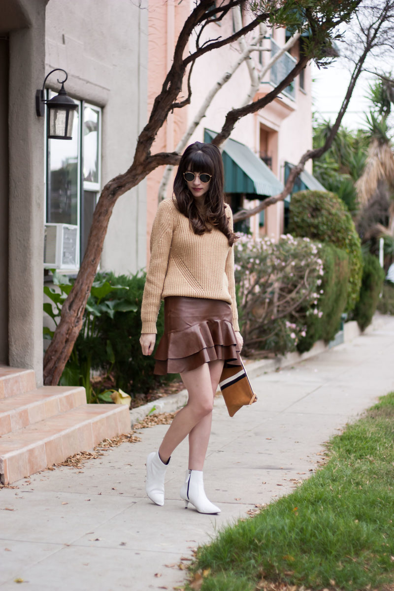 California Fashion Blogger wearing white kitten heel booties and neutral fall outfit