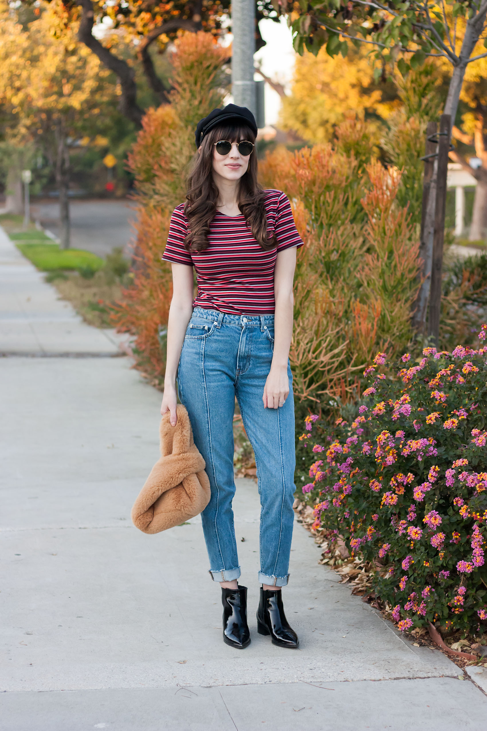 Los Angeles Style Blogger wearing Reformation, Free People bag, Baker Boy Hat and Marc Fisher Booties