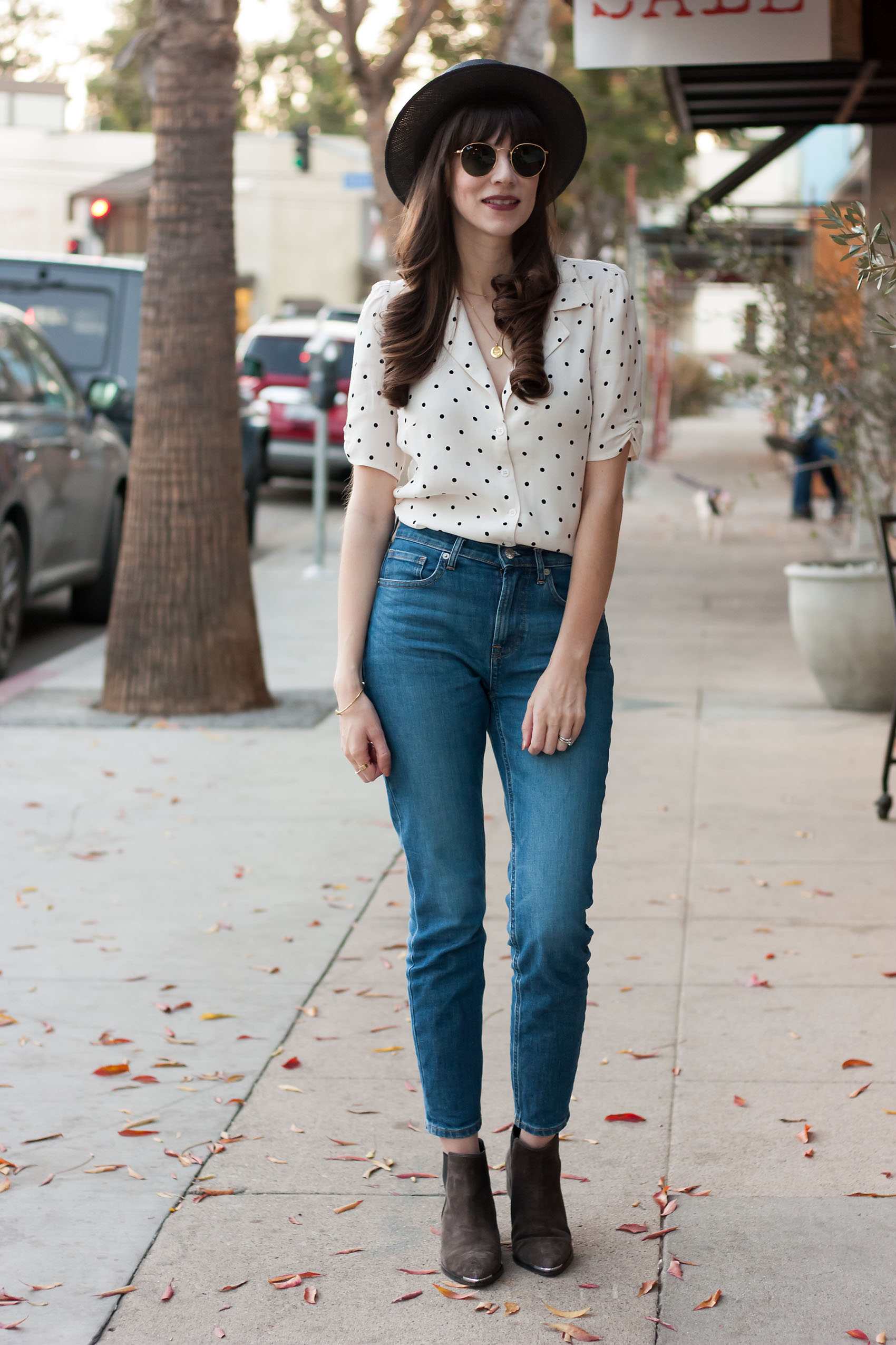 Los Angeles Blogger wearing Reformation Top, Everlane Denim and Kin the Label Hat