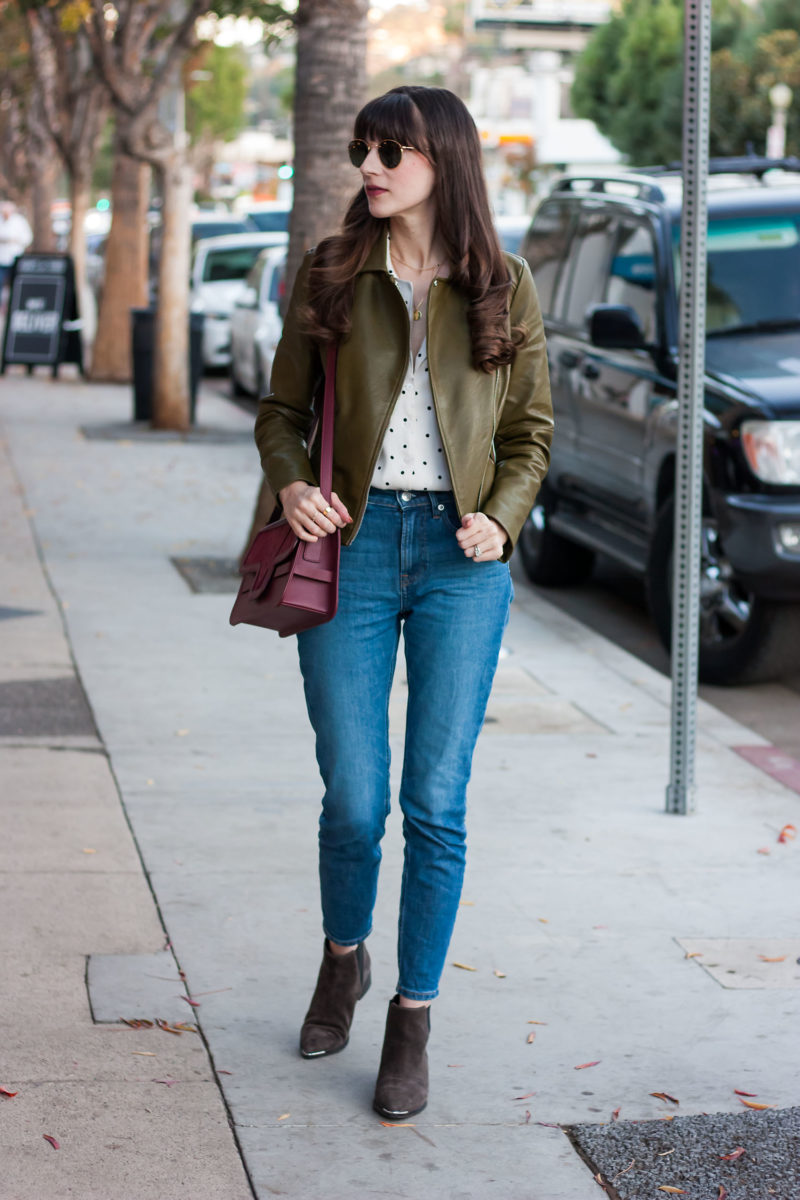 Jeans and a Teacup wearing Olive Leather Jacket and Everlane Denim