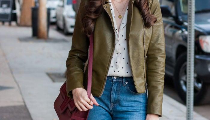 Olive Leather Jacket and Burgundy Leather Bag + Link Up