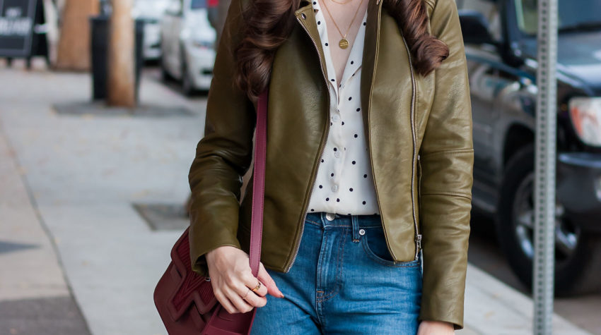 Los Angeles Blogger wearing Zara Leather Jacket and Polka Dot top