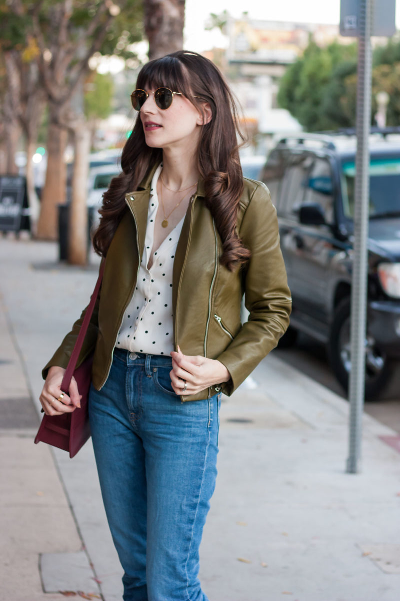 California Style Blogger wearing Olive Leather Jacket and Polka Dot Reformation Blouse