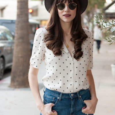 California Style Blogger wearing Polka Dot blouse and Kin K Hat