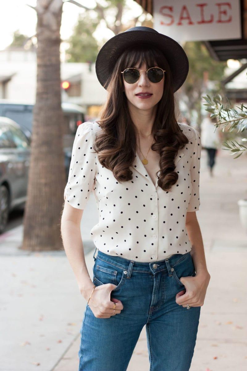 California Style Blogger wearing Polka Dot blouse and Kin K Hat