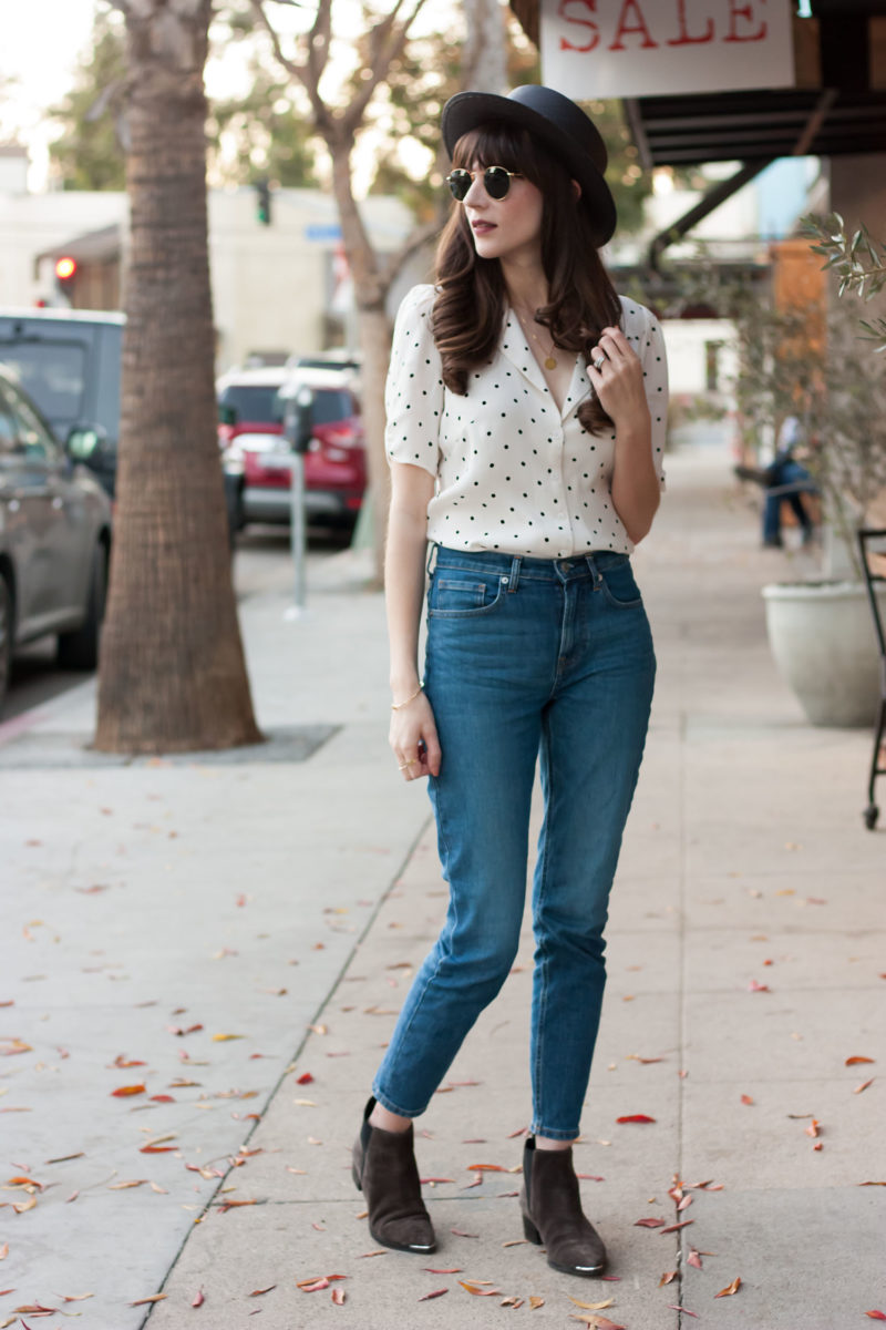 Jessica Windle from Jeans and a Teacup wearing Everlane jeans and Reformation Top