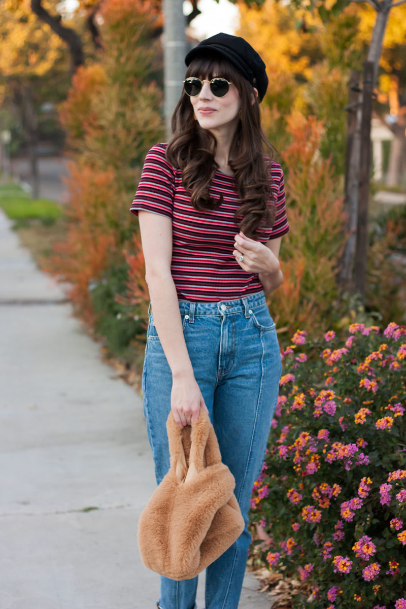 California Blogger wearing Free People Fur grab bag and Reformation shirt