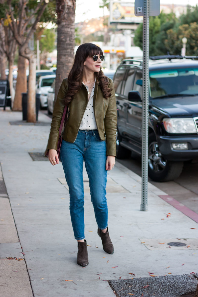 Style Blogger wearing Everlane Denim, Marc Fisher Booties and Reformation Top