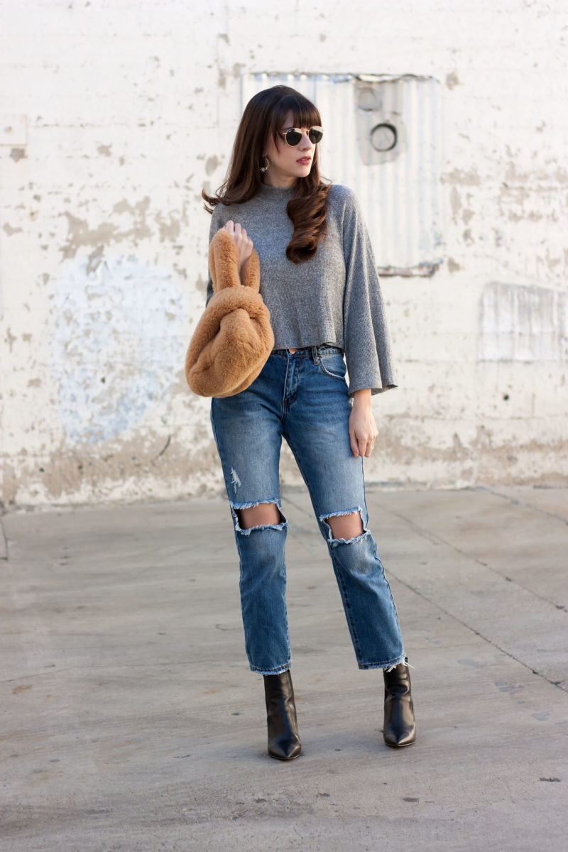 Los Angeles Fashion Blogger wearing Tobi Cropped Sweater with Bell Sleeves