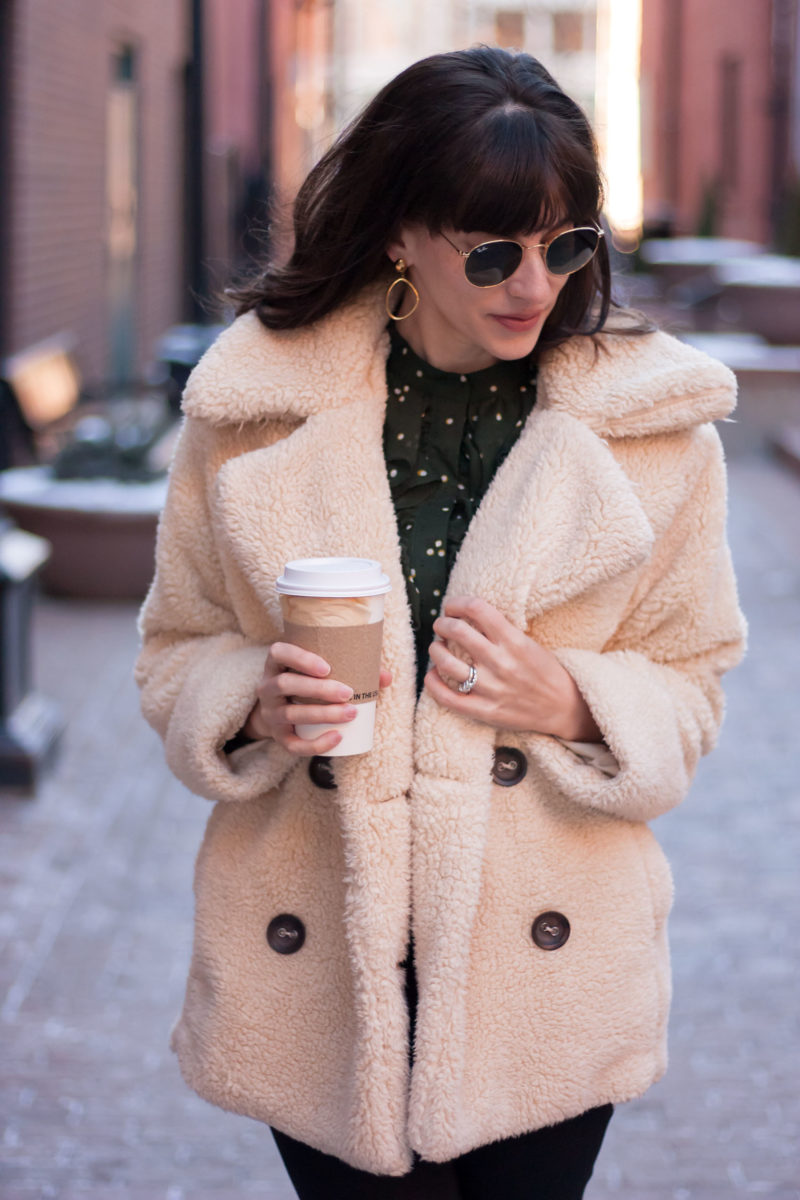Jeans and a Teacup wearing Teddy Coat