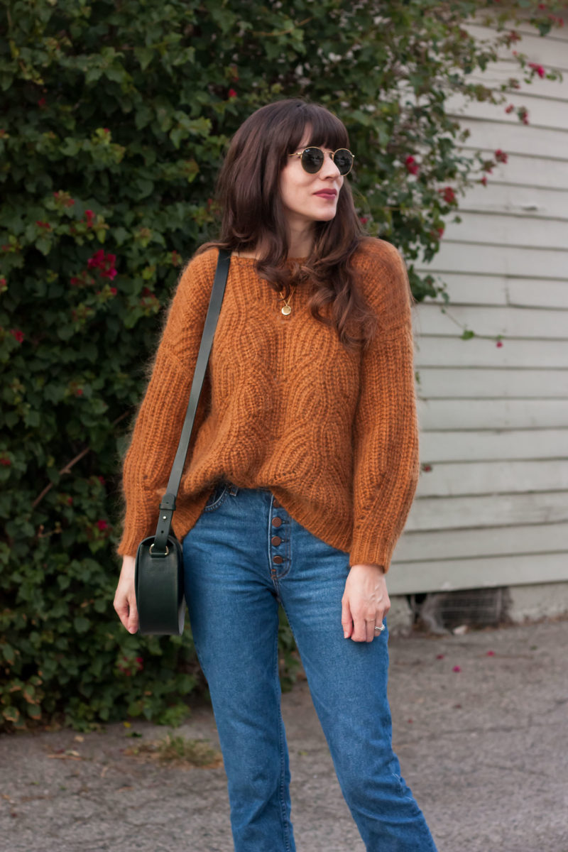 Sezane Camel Knit Sweater with Reformation Jeans