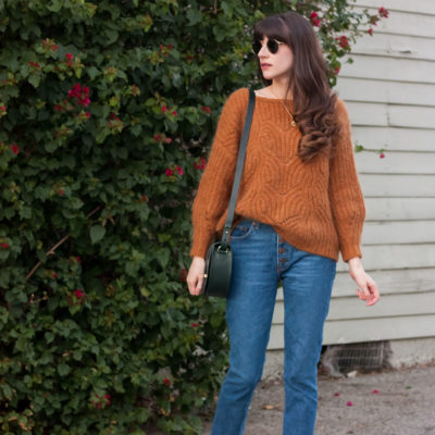 Camel Knit Sweater and Vintage Style Jeans