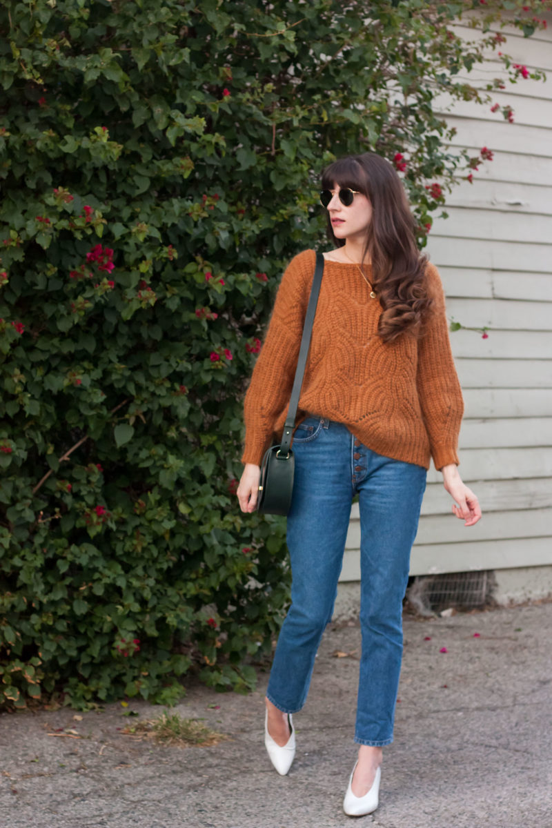 Los Angeles Blogger wearing Reformation Denim and Sezane Knit