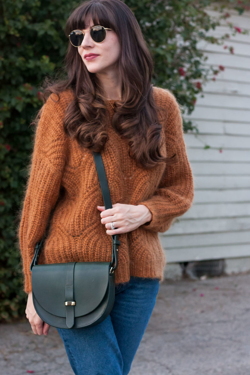 Los Angeles Style Blogger with Hunter Green Sezane Purse and Camel Knit