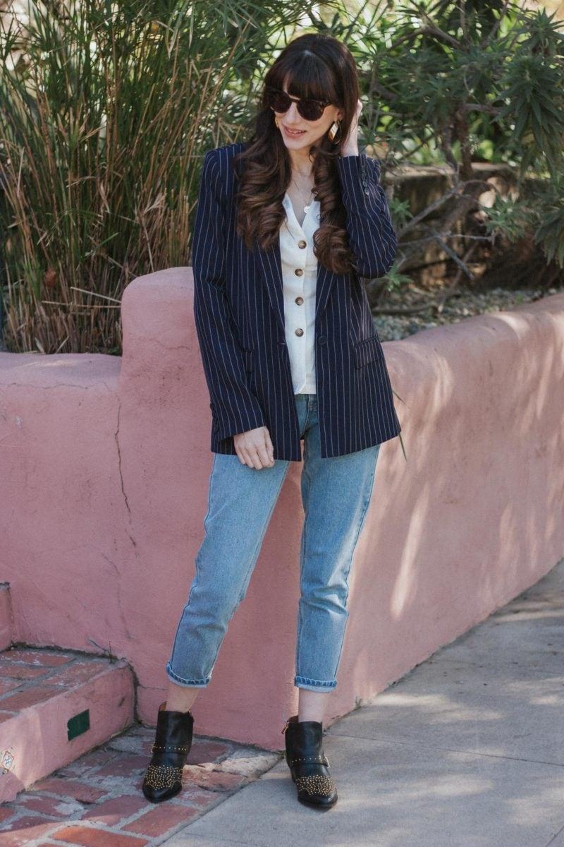 Minimalist Style Blogger wearing Studded Ankle Booties and Boyfriend Blazer