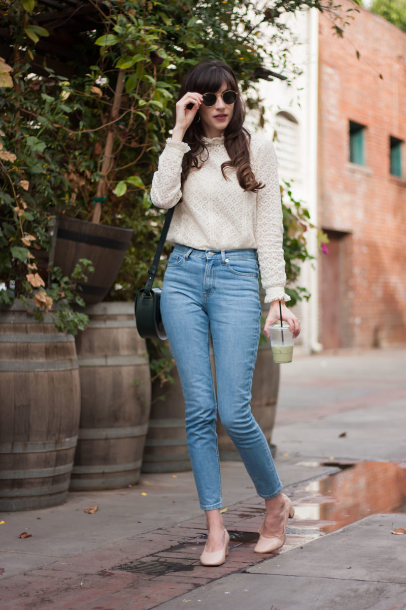 California Style Blogger wearing Everlane Jeans and Sezane Shirt
