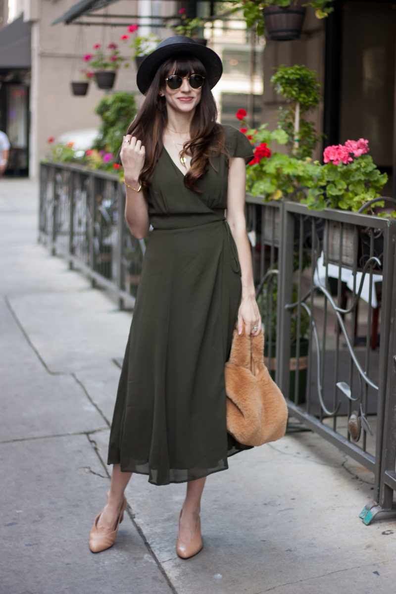 Vintage Style Blogger wearing Reformation Wrap Dress