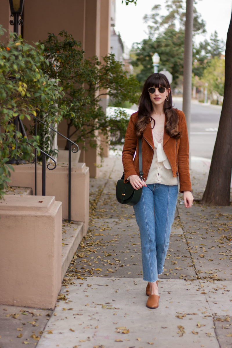 Fashion Blogger wearing BlankNYC Suede Moto Jacket
