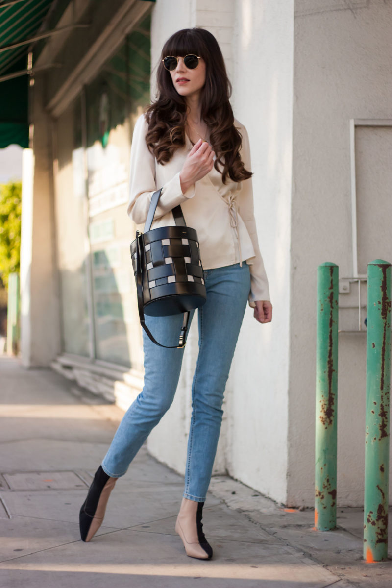 Style Blogger wearing Reformation Silk Wrap Top and Zara Sock Booties