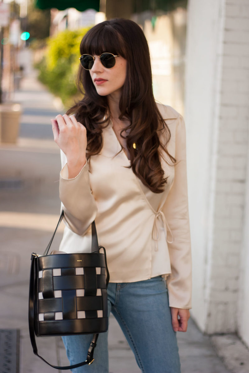 Fashion Blogger wearing Reformation Silk Top, Vasic New York Bag