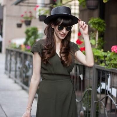 Green, Wrap Midi Dress