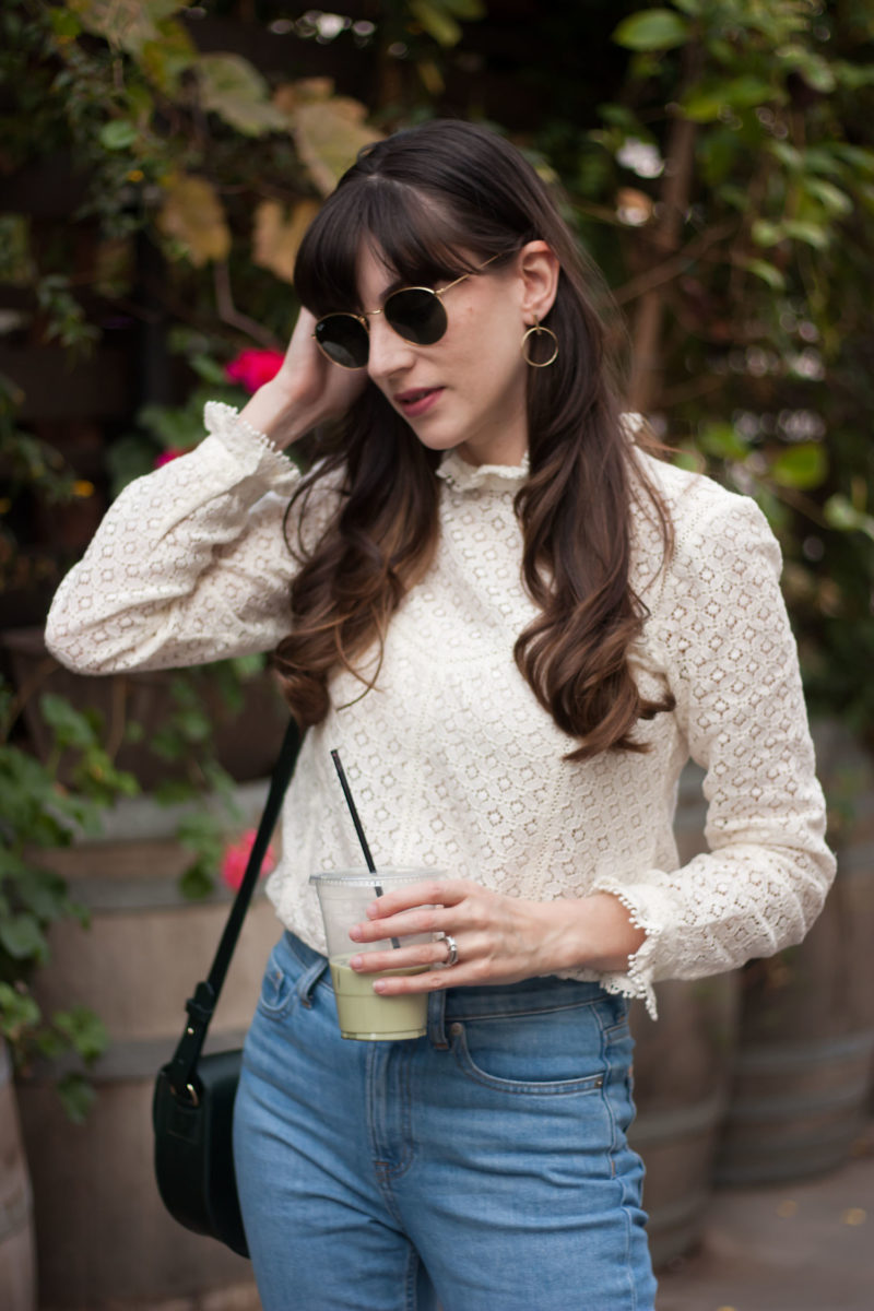 Minimalist Fashion Blogger wearing Sezane Lace Blouse and AUrate Earrings