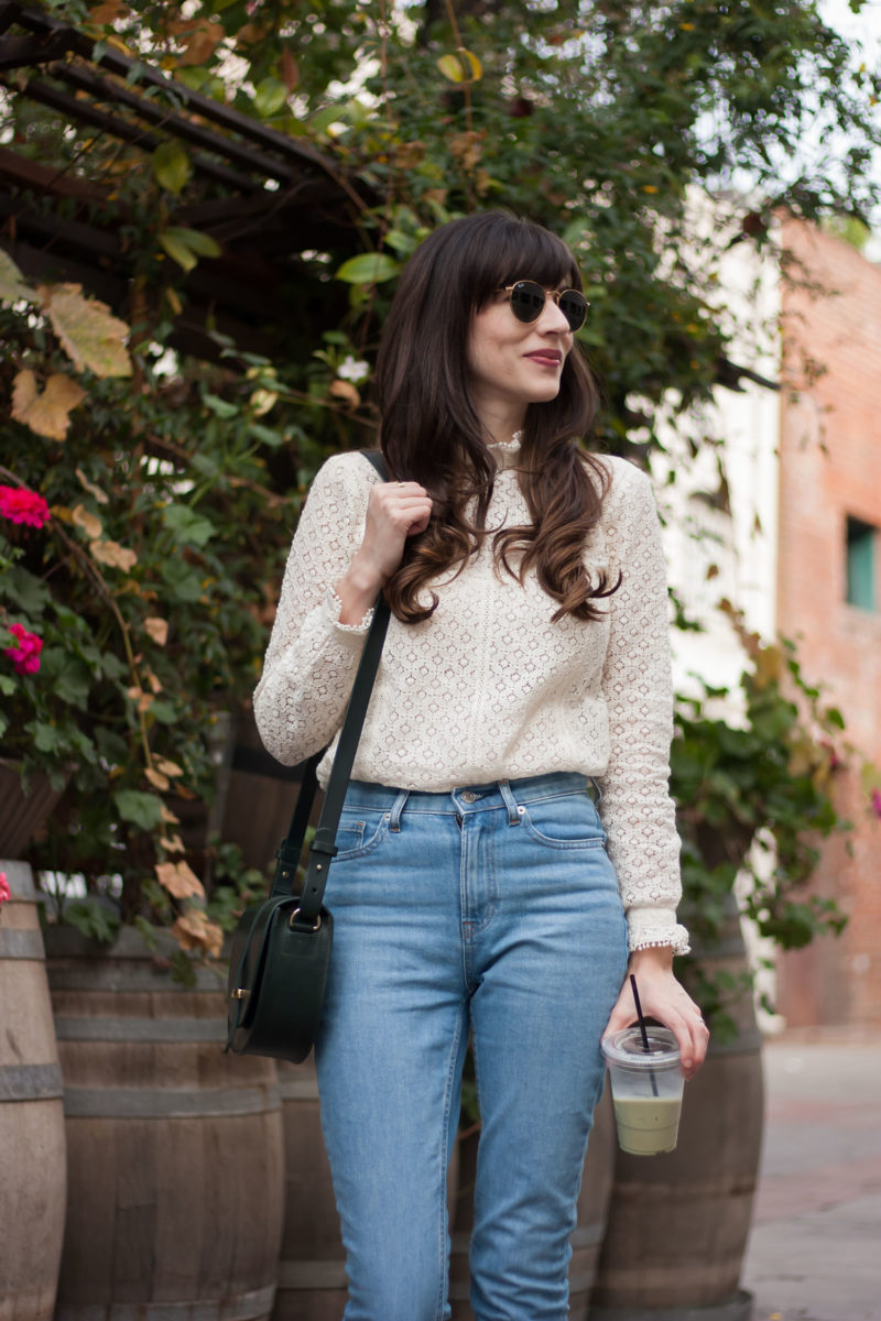 Jeans and a Teacup wearing French Lace Top and Sustainable Denim
