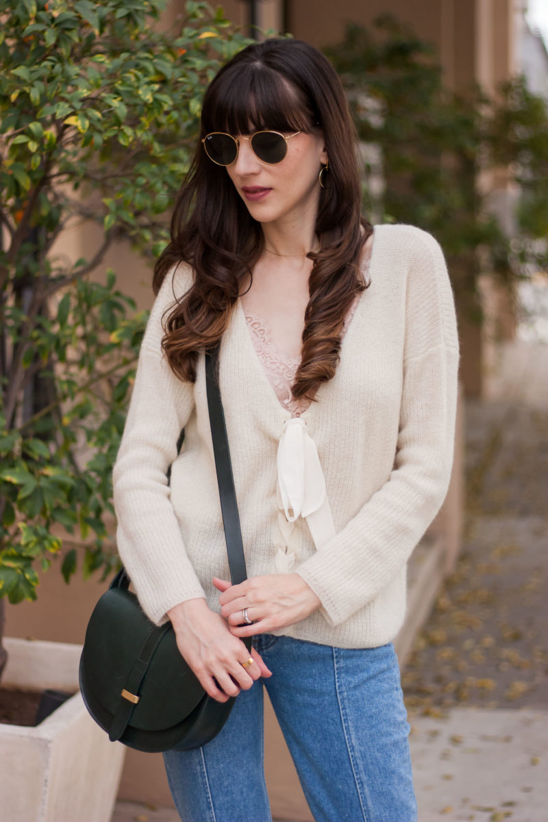 Sezane Knit Sweater and Bag on Fashion Blogger