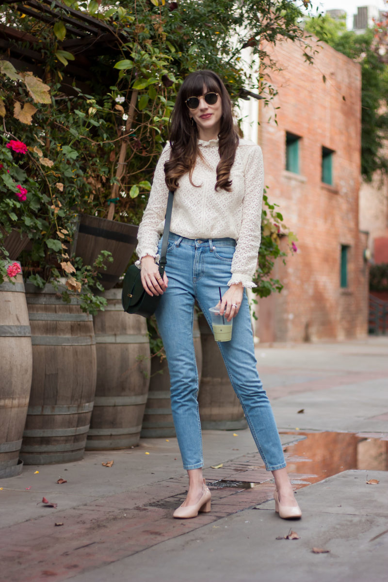 Sezane lace top and Everlane Denim on Los Angeles Blogger