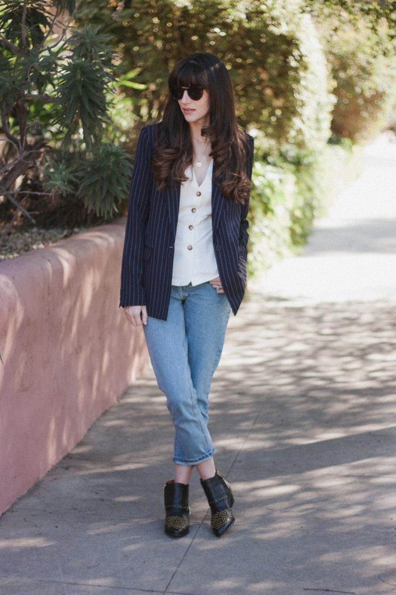 Los Angeles Blogger wearing Oversized Pin Stripe Blazer and Frank and Oak denim