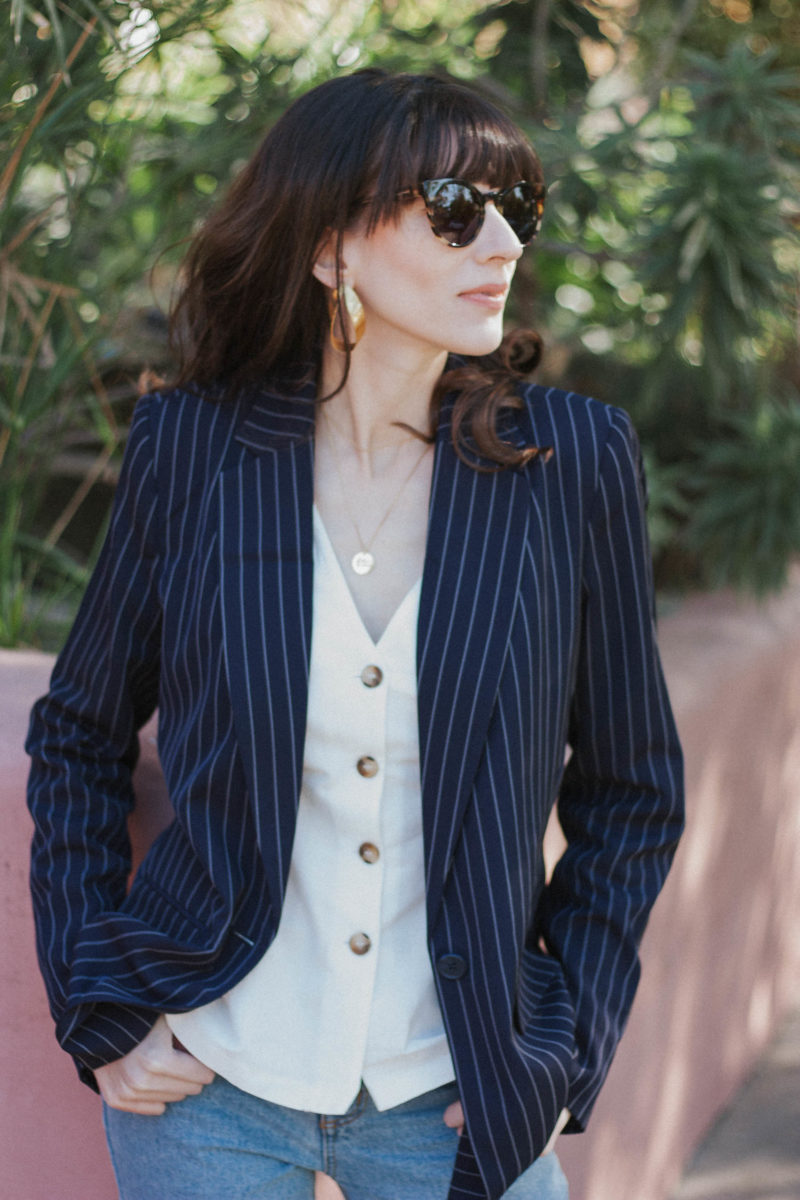 Style Blogger wearing Target Blazer and Topshop Button Blouse