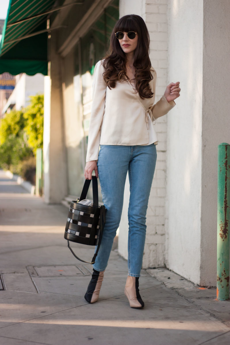 Los Angeles Blogger with Vasic Bucket Bag and Everlane Denim