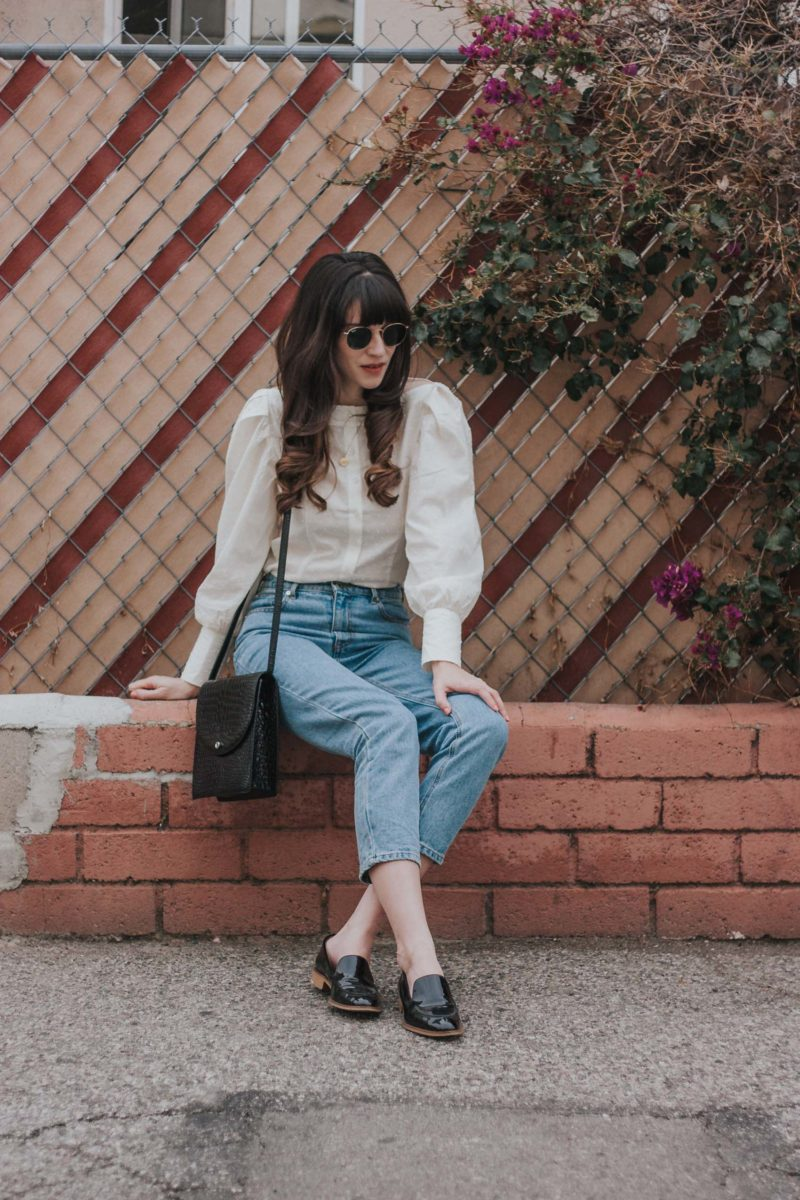 Jeans and a Teacup wearing Everlane Patent Loafers and H&M Blouse