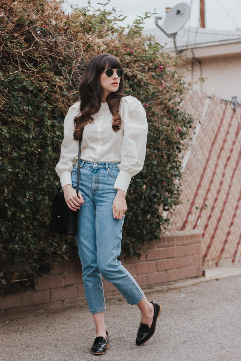 H&M Puffed Sleeve Blouse with Frank and Oak Denim and Everlane Loafers