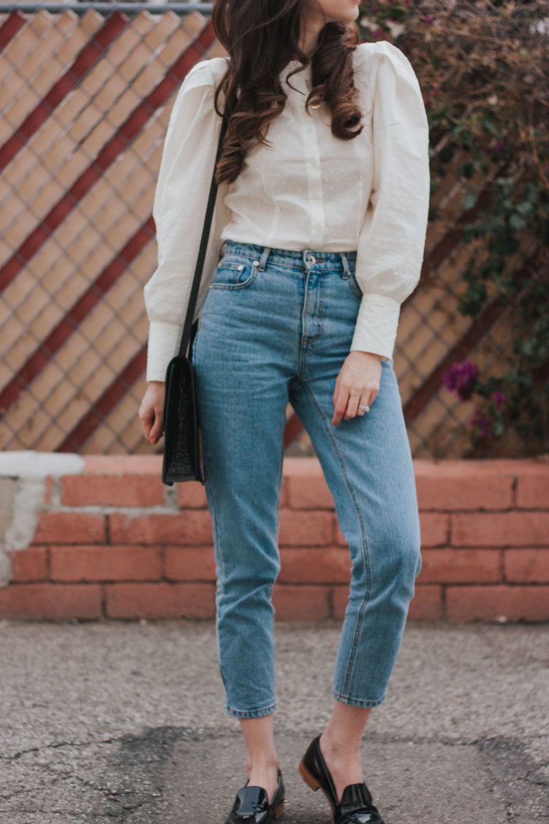 Los Angeles Blogger wearing Frank and Oak Denim and Elizabeth and James Eloise Bag
