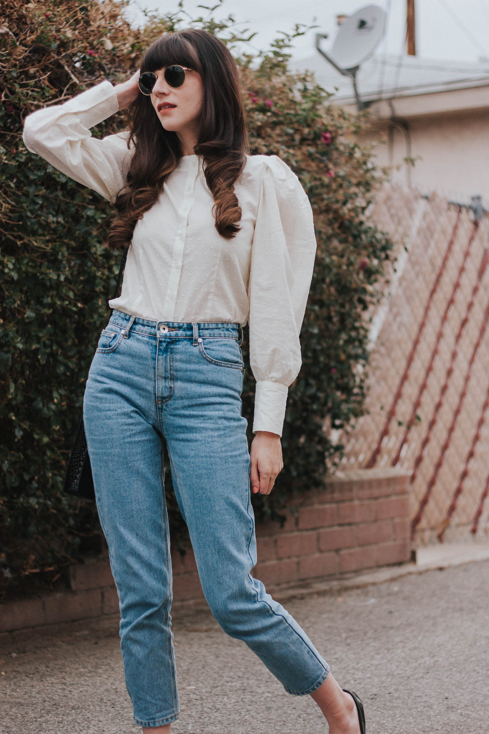 Vintage Style Blouse with High Waist Denim