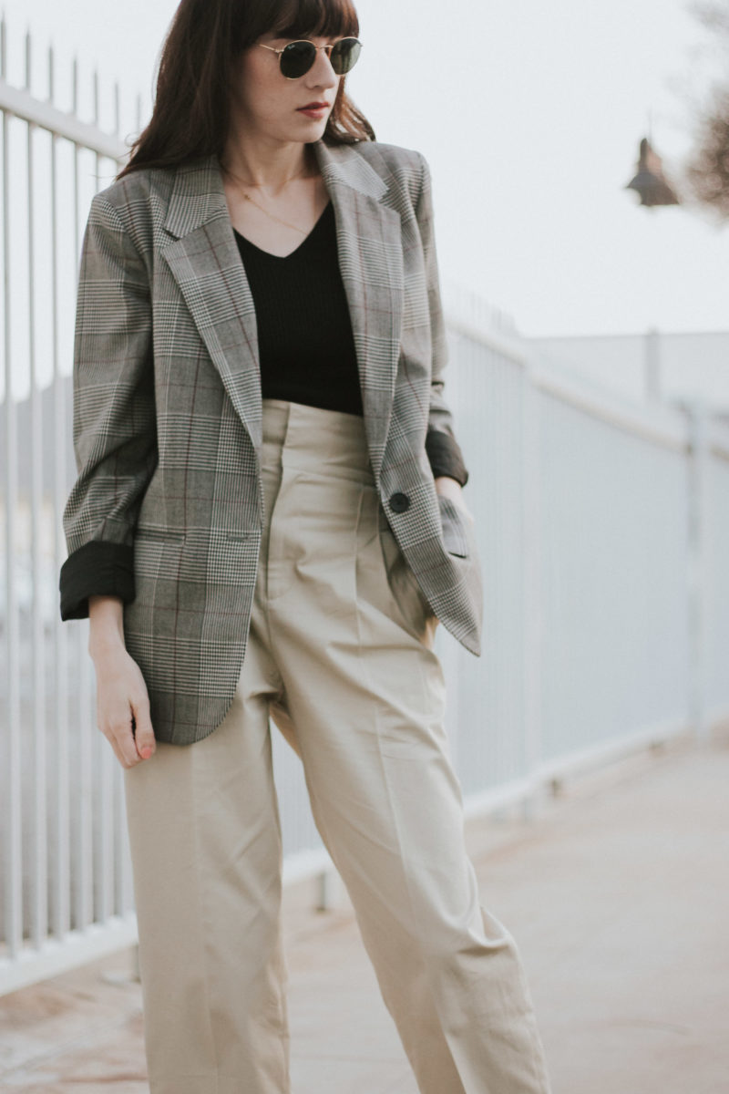 California Blogger wearing Target Plaid Oversized Blazer