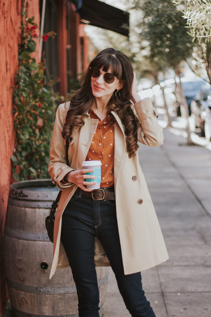 J.Crew Trench Coat and Diff Sunglasses