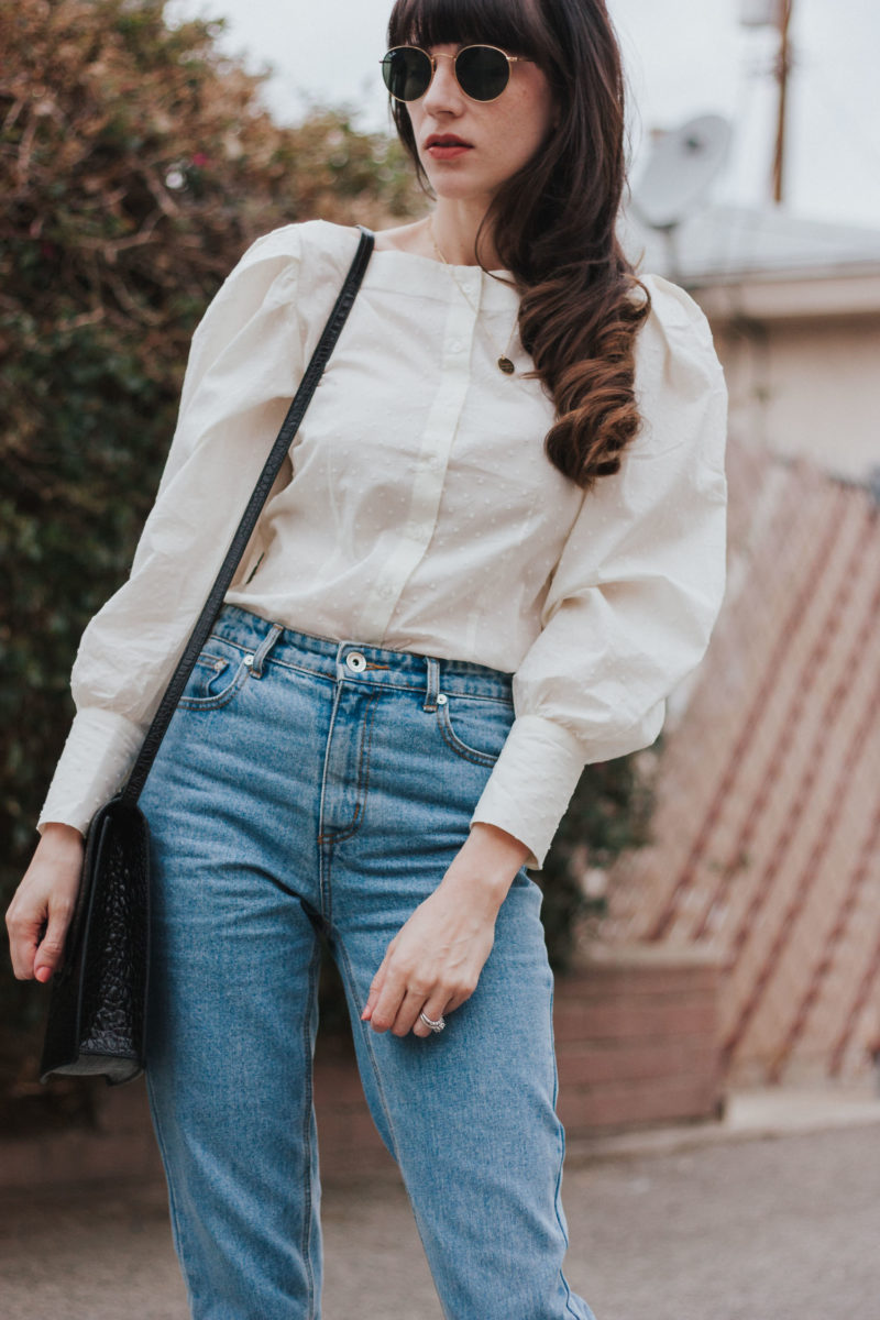 Minimalist Fashion Blogger wearing Button Front Cotton Blouse and High Waist Denim