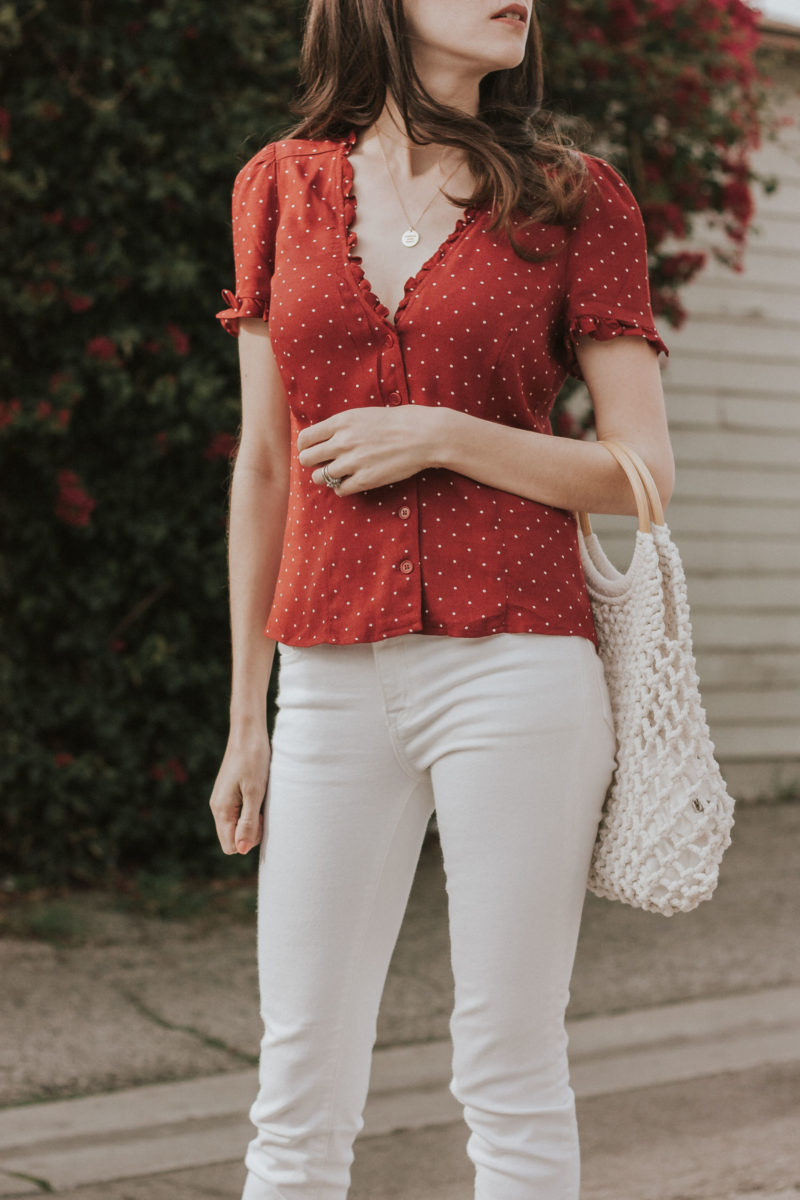 Reformation Polka Dot Top and White Jeans