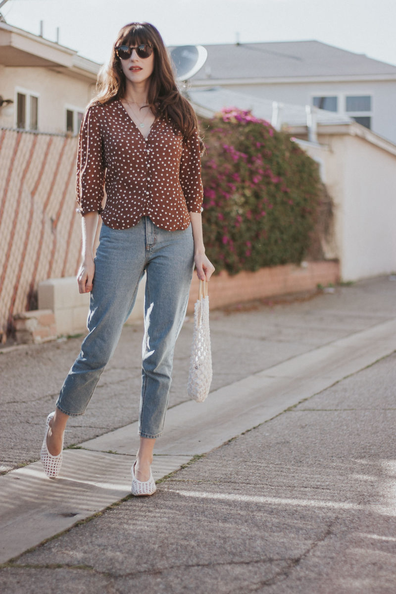 Vintage Style Blogger wearing Rouje Polka Dot Top and Frank and Oak Denim