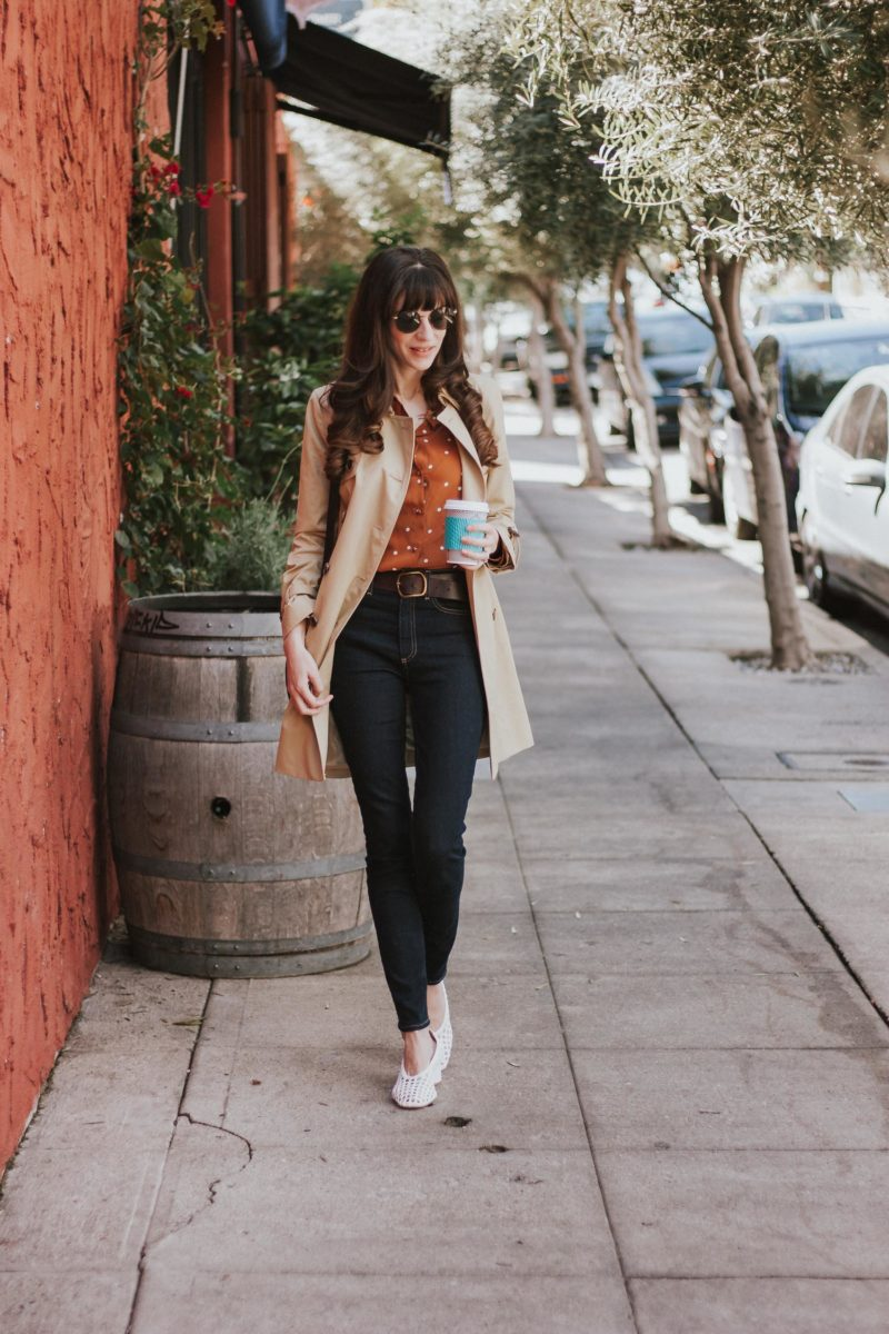 Los Angeles Blogger wearing Sezane Blouse and J.Crew Trench Coat in Silverlake