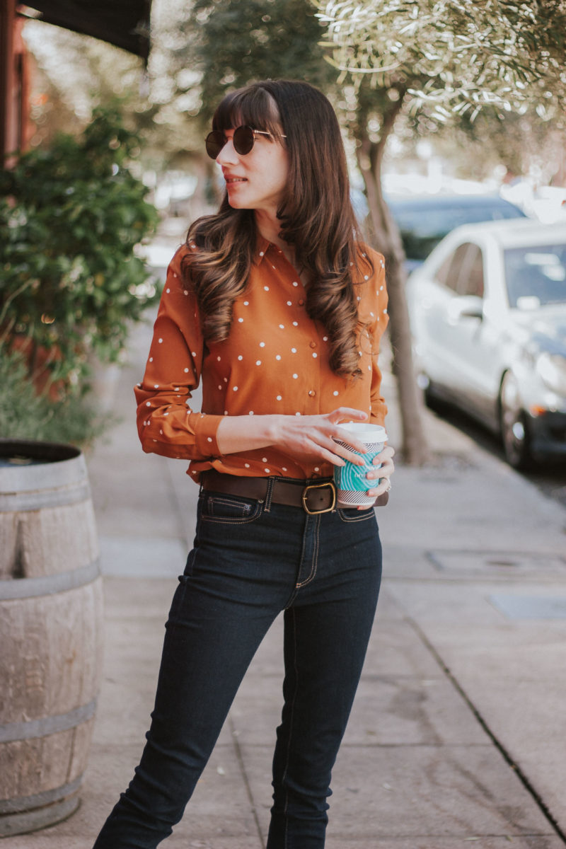 Sezane Silk Blouse on Los Angeles Fashion Blogger