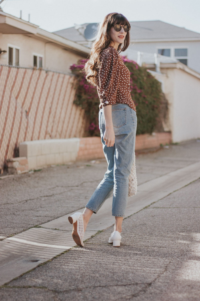 California Style Blogger wearing Topshop woven shoes and vintage style jeans - polka dot tops