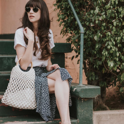 Jeans and a Teacup wearing Rouje midi skirt, topshop woven bag and woven heels