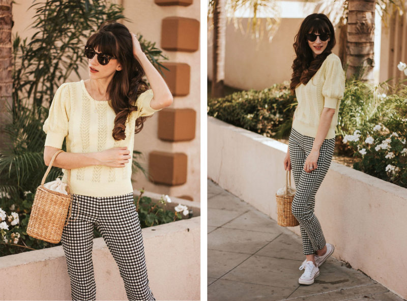 Spring Outfit featuring Gingham pants and a straw bag