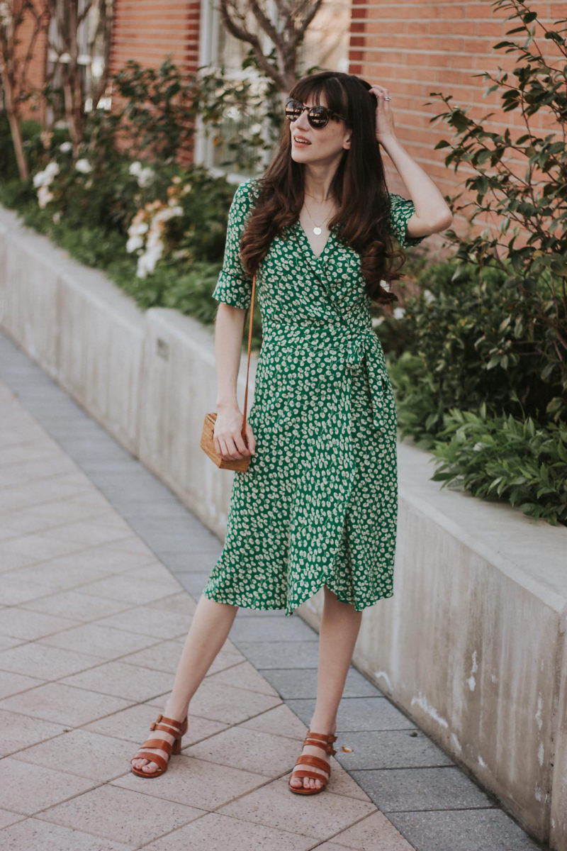Ganni Green Wrap Midi Dress with Marais USA Sandals