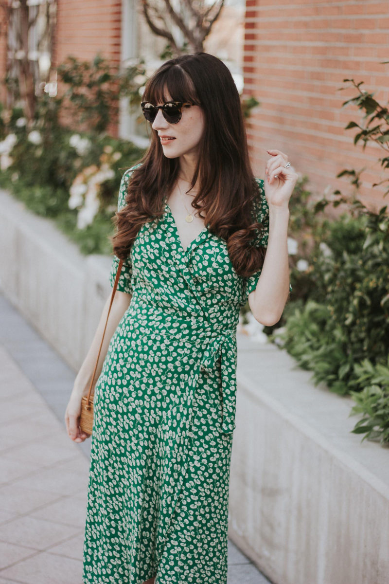 French Inspired Summer Style with a green wrap midi dress and cat eye sunglasses